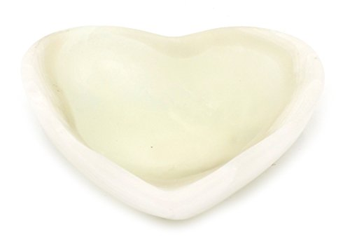 Pearlescent White Crystal Stone Heart-Shaped Bowl, 5″ Wide (0.8lbs), Carved from Real North American Aragonite – The Artisan Mined Series by hBAR For Sale