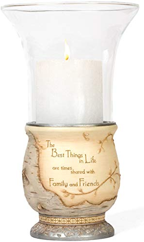 Elements Best Things in Life Candle Holder by Pavilion, 10-1/2-Inch, Inscription The Best Things in Life are - Pillar Candle Holder Angel