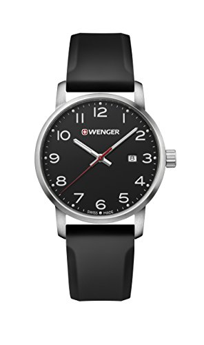 (Wenger Men's Sport Stainless Steel Swiss-Quartz Watch with Silicone Strap, Black, 22 (Model: 01.1641.101))