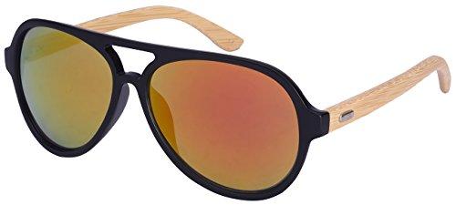 Edge I-Wear Retro Aviators Style Bamboo Sunglasses with Revo Lens by