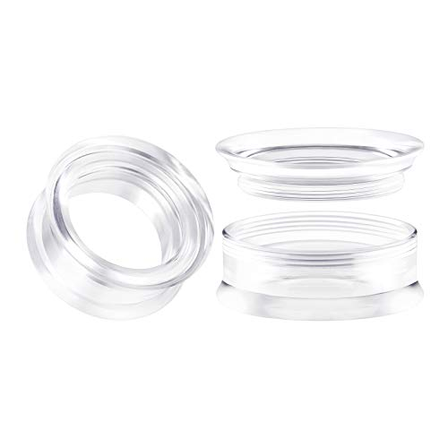 BIG GAUGES Pair of Clear Acrylic 1 inch 25mm Double Flared Saddle Piercing Stretcher Ear Plug Earring Lobe Screw Flesh Tunnel ()