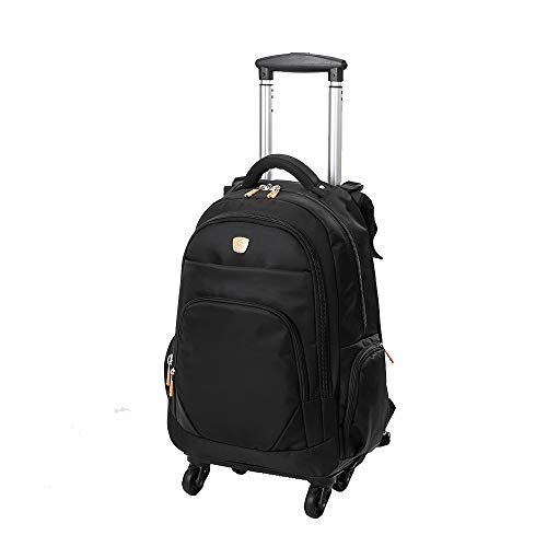 ROYAL MOUNTAIN Travel Rolling Wheeled Backpack, Nylon Waterproof Carry-On Luggage with Anti-Theft Zippers (Black)