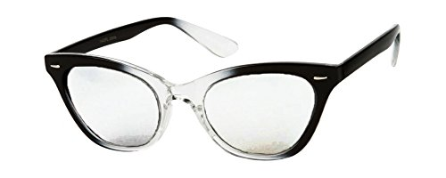 [Retro 50s Nerd Glasses with Black & Clear Fade Frames & Clear Lenses] (Geek Chic Glasses)