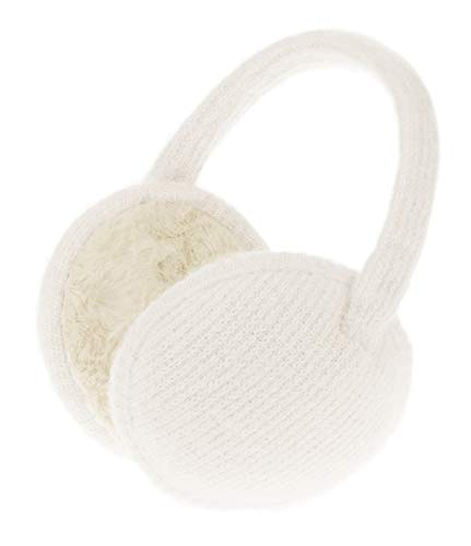 Knolee Unisex Classic Fleece Earmuffs Foldable Ear Muffs Winter Accessory Outdoor EarMuffs (One size, White B)