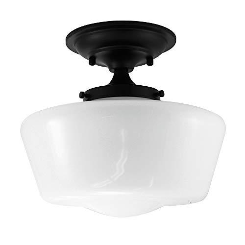 URBAN 33 F21616-50R Semi-Flush Opal Glass Schoolhouse Fixture, Black ()