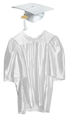 Large White Shiny Preschool and Kindergarten Graduation Cap and Gown, Tassel and 2019 Charm ()