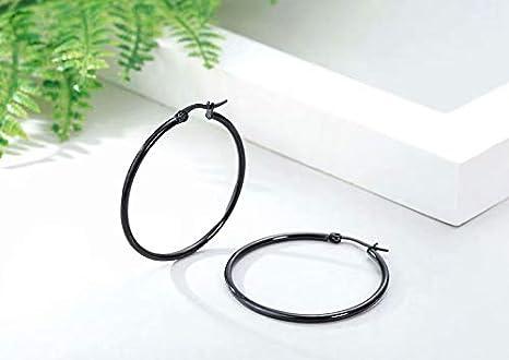 Acero Inoxidable Pendientes Conjunto - LINSUNG3 pares 15mm 20mm 25mm Acero Inoxidable Aro Hoop Huggie Pendientes Conjunto Mujer Negro