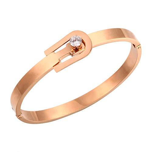 Designer Inspired Titanium Steel Belt Buckle Love Bracelet with Swarovski Crystals (Rose -