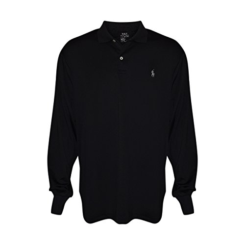 Polo Ralph Lauren Mens Long Sleeve Performance Pony Polo Shirt (Black, (Polo Ralph Lauren Moisture)