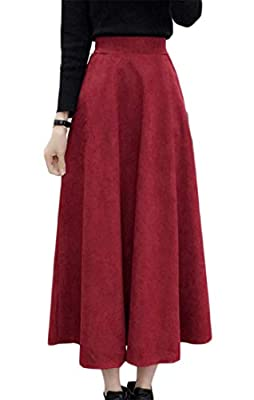 Conffetti Women's Autumn Winter Pleated Velvet High Rise Flare Mid-Long Skater Skirts