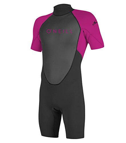 O'Neill Youth Reactor-2 2mm Back Zip Short Sleeve Spring Wetsuit, Black/Berry, ()