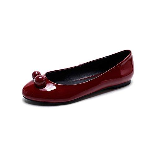 Moda cabeza circular poco profundo señora planos zapatos/de patentes zapatos de cuero de las cuatro estaciones/Joker estudiantes poco rojo A