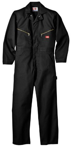 - Dickies Men's Deluxe Long Sleeve Blended Coverall, Black, Large/Regular