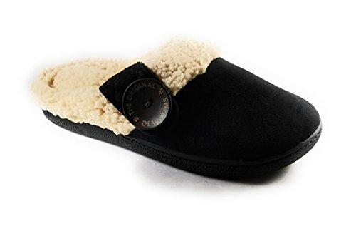 Dearfoams New 2017 Women's Slippers- Memory Foam Microfiber Suede Clogs (Large, Black) ()