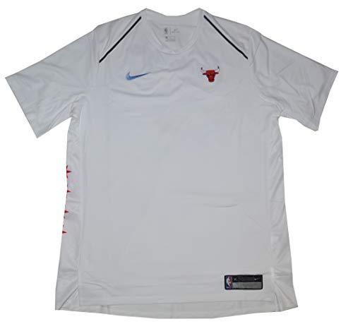 Nike Dry Chicago Bulls Dri Fit Short Sleeve Men's Shooting Performance Shirt (White, X-Large)