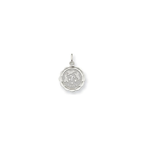 (Jewelry Pendants & Charms Themed Charms 14k White Gold Aries Zodiac Scalloped Disc Charm)