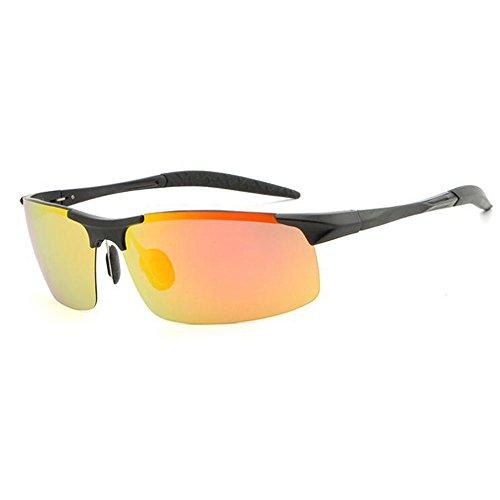 Meetyou Mens Fashion Driving Metal Frame Polarized Sunglasses for Aluminum-Magnesium Polarized Sunglasses Driver Driving Fashion Sunglasses,Black&Orange ()