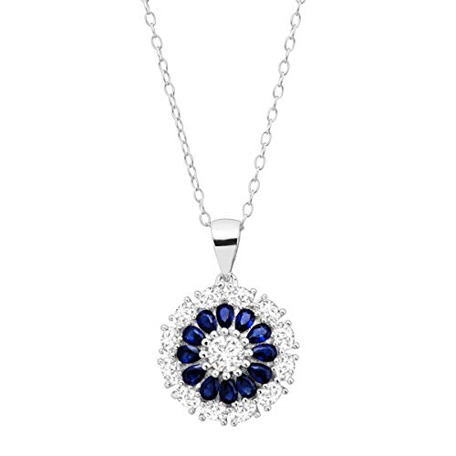 7/8 ct Created Blue & White Sapphire Flower Medallion Pendant Necklace in Sterling Silver - Flower Medallion Pendant