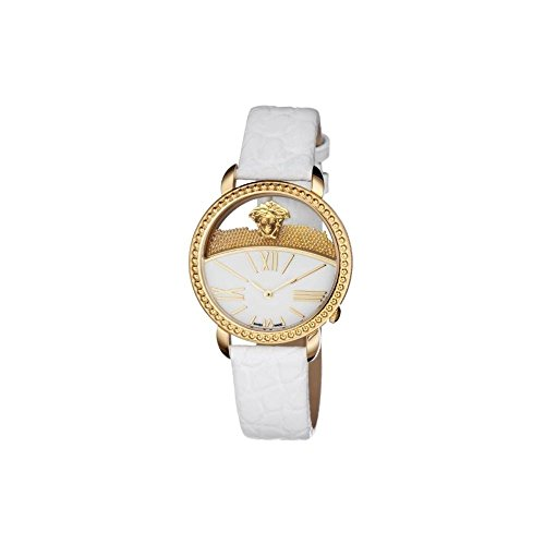 Versace Women's 'KRIOS' Swiss Quartz Stainless Steel and Leather Casual Watch, Color:White (Model: VAS010016)