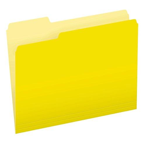 Pendaflex Two-Tone Color File Folders, Letter Size, Yellow, 1/3 Cut, 100 per box (152 1/3 -