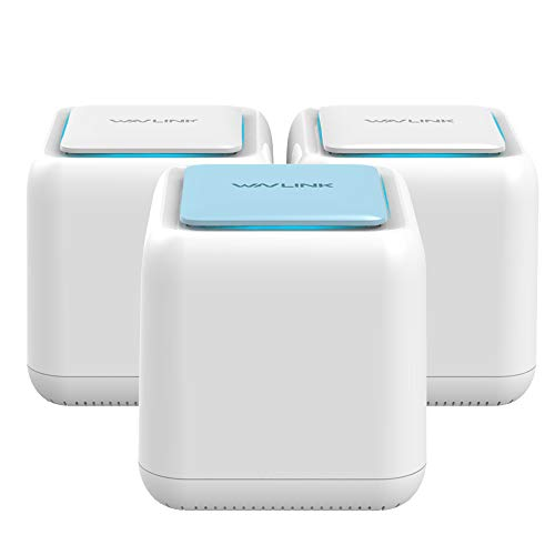 Mesh WiFi Router,Dual Band AC1200 Whole Home Mesh WiFi System with Touchlink Function, Router & Extender Replacement Covers up to 6,000 sq. ft, 3-Pack Includes 1 WiFi Router & 2 WiFi Extenders