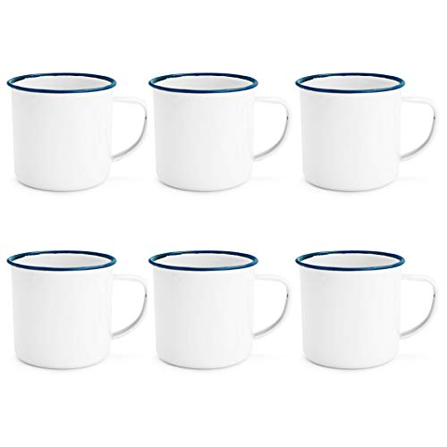 - Rink Drink Traditional Enamel White Tea/Coffee Mugs - 350ml - Blue Trim - Set of 6