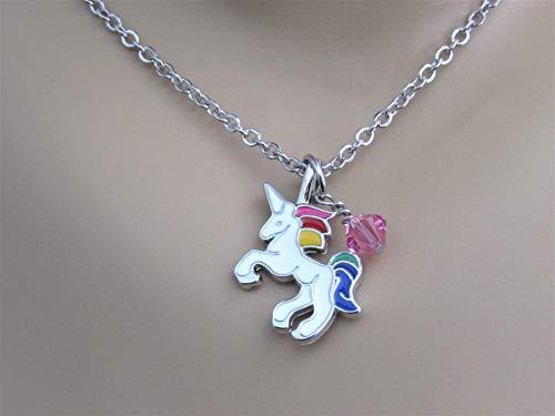 - Unicorn Necklace with Swarovski Crystal Birthstone Bead