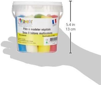 Multicolore PATAMODE 929029 Pâte Végétale Non Séchant Seau 8 Bâtons