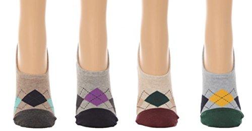 Men's No Show Argyle Socks - Hidden Flat Boat Line - w/ Silicon Pad - (4 pair set) (One Size(7-11), Multi)