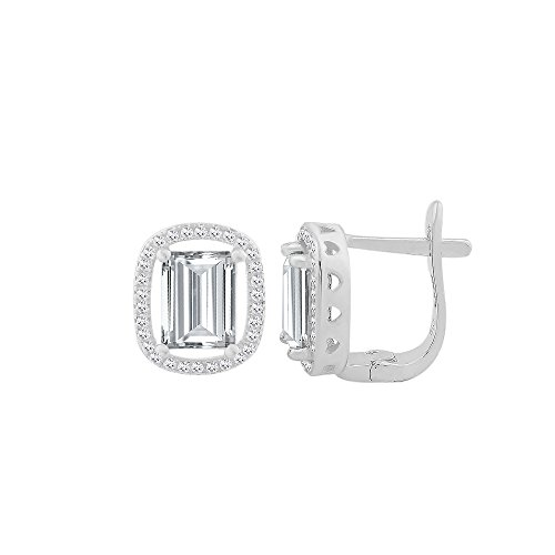 Sterling Silver Cubic Zirconia Elegant Rectangular Shape Leverback Earring With Center CZ Colored Stone Stud (Clear, sterling-silver)