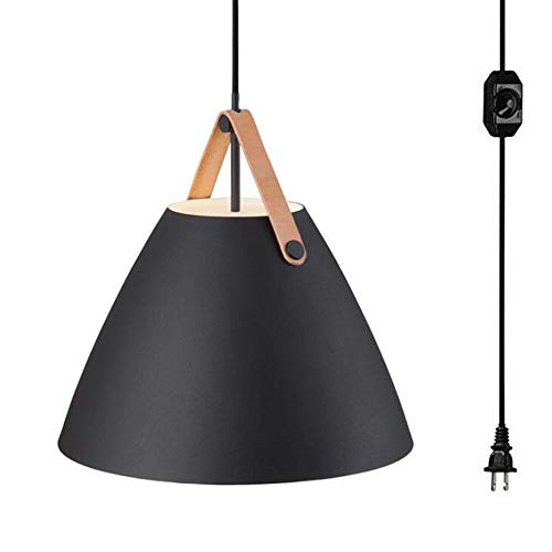 Kiven Dimmable White Cone Pendant Light 1-Light Plug-in Pendant,15 Foot Dimmer in-Line On/Off Switch,10.63'',Black