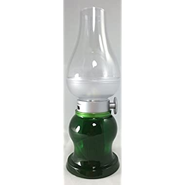 Jubee Vintage Style Lantern Battery-Operated LED Blow Lamp Night Light with USB charge (Green)