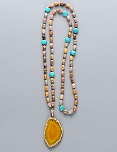 (Fricgore, Handmade Unique Craft Jewelry_Natural Rice Shape Stones with Onyx Slice Pendant Necklace Handmade Beaded Natural Stones Women Bohemia Jewelry)
