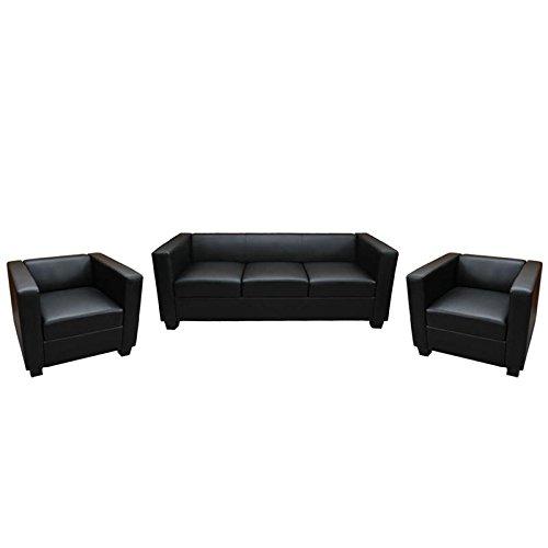 3-1-1 Sofagarnitur Couchgarnitur Loungesofa M65, Kunstleder ~ schwarz