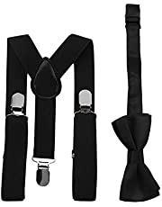 Adjustable and Elasticated with Metal Clips Polyester Kids Design Suspenders and Bowtie Bow Tie Set Matching Ties Outfits - Black