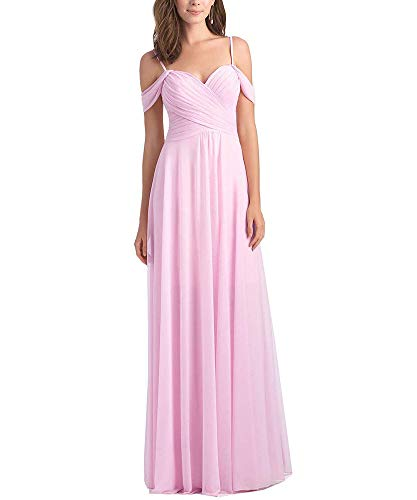 WuliDress Women's A Line Sweetheart Chiffon Bridesmaid Dress Long Off The Shoulder Pleated Wedding Party Gown Pink Size 2
