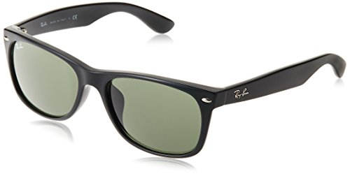 - Ray-Ban RB2132F New Wayfarer Asian Fit Sunglasses, Black/Green, 58 mm