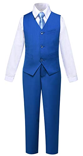 Suit for Boys 4 Piece Ring Bearer Suits Slim Fit Vest and Pants Set Royal Blue Size 2T ()