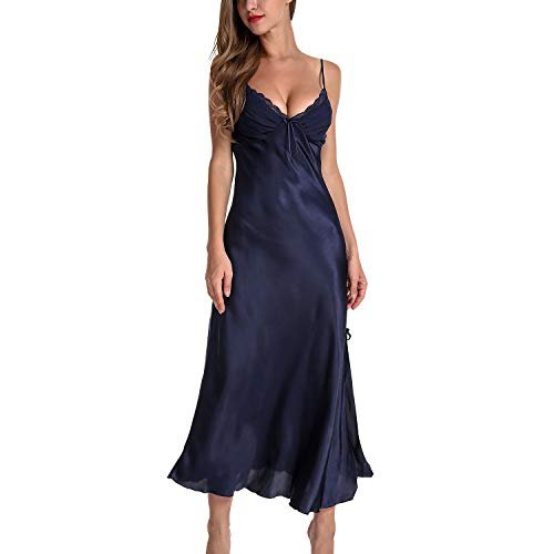Lu's Chic Women's Satin Nightgown Dress Silk Lace Sleeveless Long Chemise Lingerie Sleepwear Navy US L (Tag3XL) (Silk Long Dress)