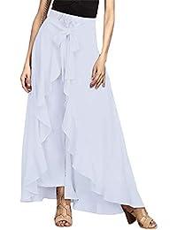 Women's Ruffle Plain Wide Leg Split Tie-Waist Maxi Long...
