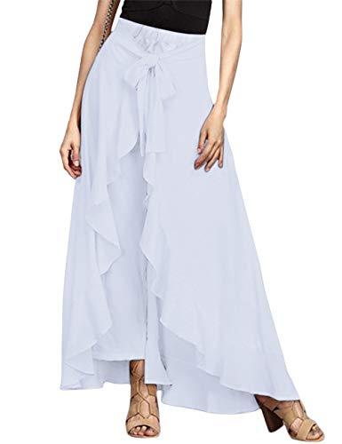 Lrady Women's Ruffle Plain Wide Leg Split Tie-Waist Maxi Long Palazzo Overlay Pant Skirts, White, S ()