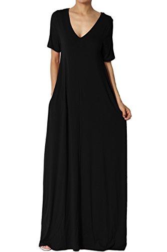 TheMogan Women's Casual V-Neck Short Sleeve Pocket Long Maxi Dress Black S - Jersey V-neck Skirt