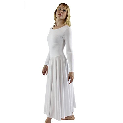 Danzcue Womens Praise Loose Fit Full Length Long Sleeve Dance Dress, White, Large