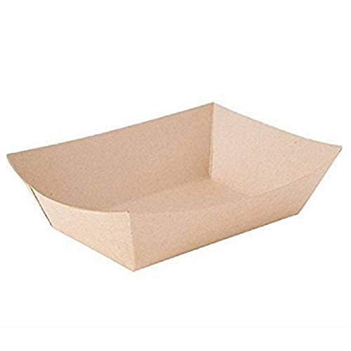 Natural Brown Kraft Disposable Paperboard - ¼ lb. Small Food Serving Mini Tray Boat Bowl for Carnivals, Fairs, Festivals and Picnics - Made in USA (Pack of 200)