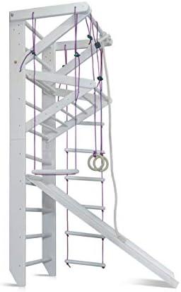 KIND Turnwand Gym Kletterger/üst ˝Spartak-5-240˝ Holz Sportger/ät Kletterwand Sprossenwand mit Stange Fitness