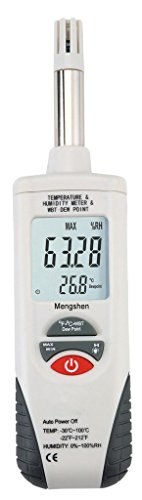 - Mengshen Digital Psychrometer - Handheld Backlight Temperature Humidity Meter Gauge with Dew Point and Wet Bulb Temperature - Battery Included, M350