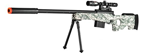 300 FPS - L96 Airsoft Gun Sniper Spring Powered Rifle Gun with Scope (Digital Camo) M14 Sniper Rifle Bolt
