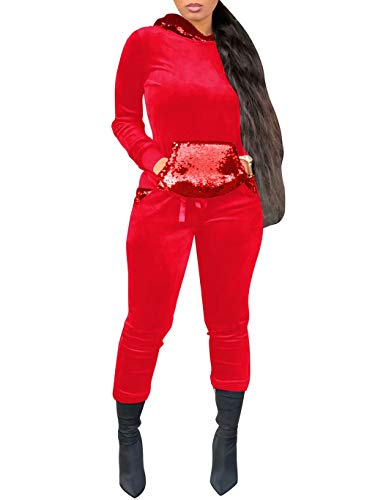 Women 2 Piece Outfits Velour Sequins Sweatsuit Hoodies and Pants Tracksuit Red ()