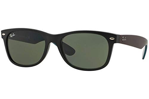 Sunglasses Black Blue (Ray-Ban RB2132 New Wayfarer Non Polarized Sunglasses, Matte Black (Blue/Purple arms), Green 55 mm)