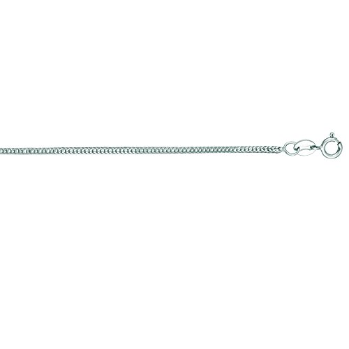 Luxurman 14K White Solid Gold 1mm wide Foxtail Chain 20